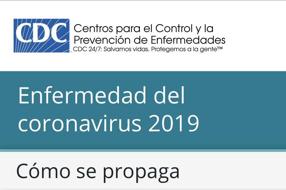 CDC Covid-19 cómo se propaga